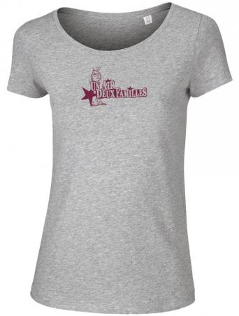 "T-shirt Femme ""Un Air, Deux Familles"" - Heather Grey - Bio"